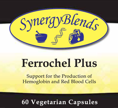 Ferrochel Plus Iron supplement by Synergy Blends supports production of Hemoglobin, Red Blood cells