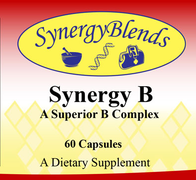Synergy B, superior B Complex dietary supplement, helps stress response, energy, immune, brain function